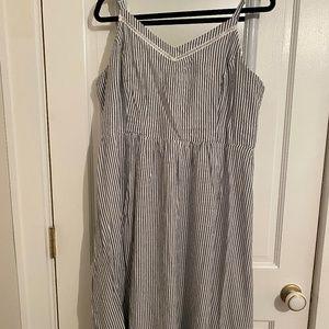 Navy & White Striped Midi Dress (Old Navy)